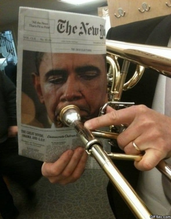 Obama playing trumpet
