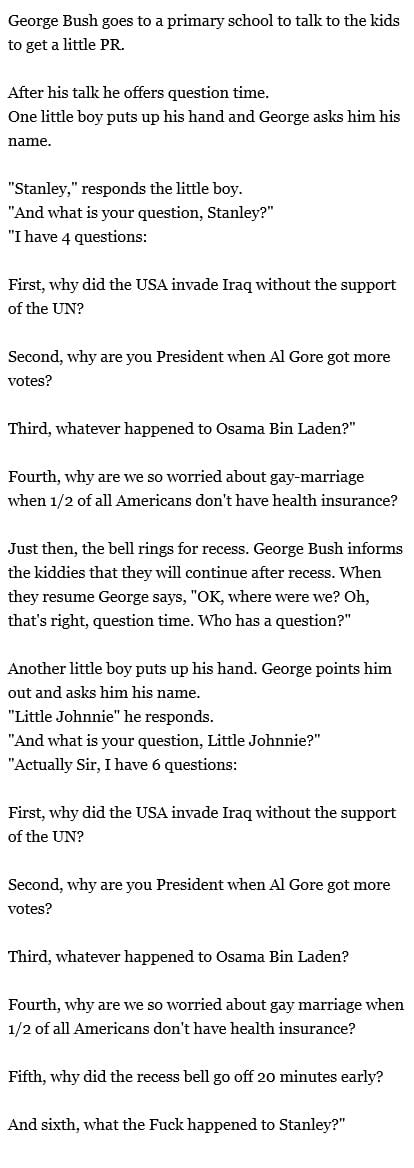 George Bush and the little kids at the primary school