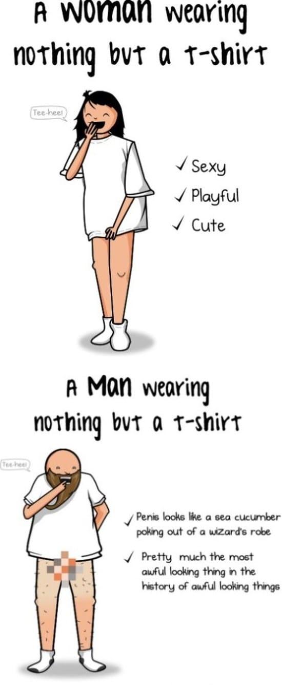 woman-vs-a-man-wearing-nothing-but-a-t-shirt
