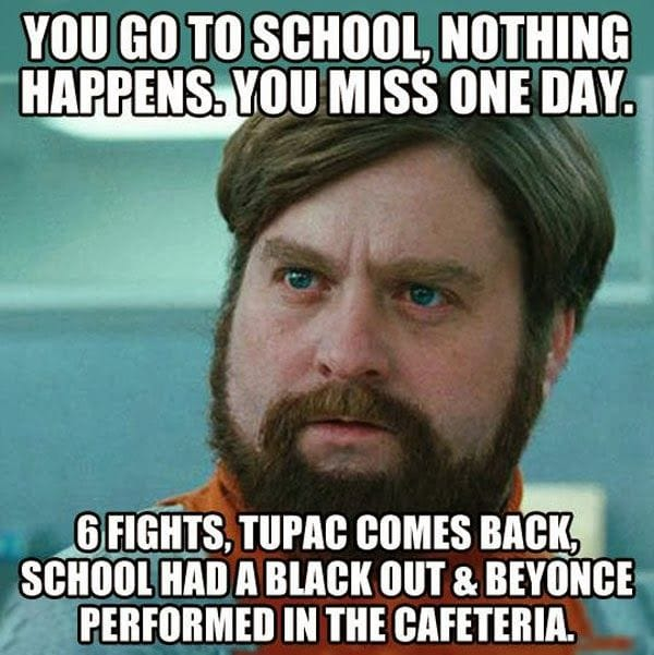 You miss one day of school