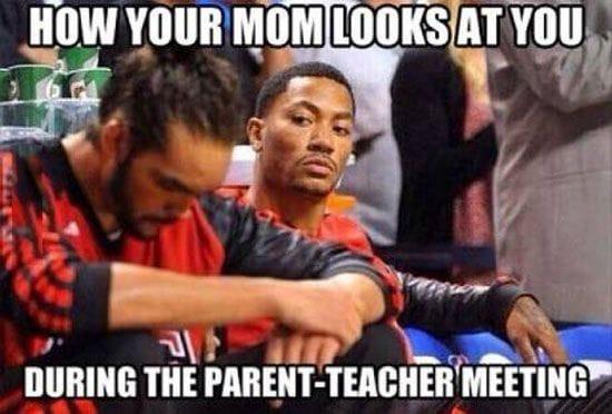 During a parent teacher meeting
