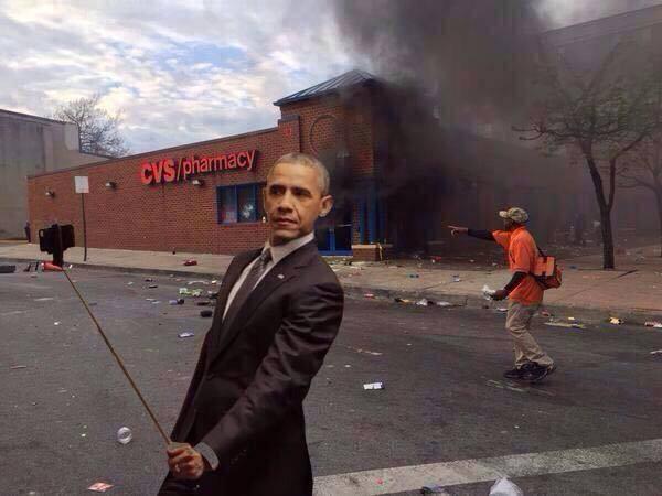 Obama taking a selfie