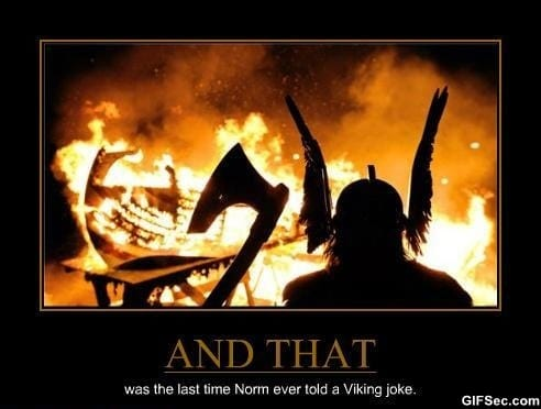Never tell viking jokes!