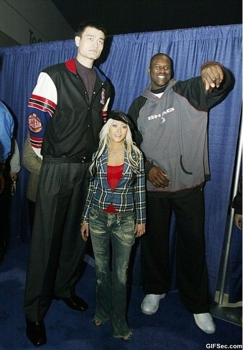 Photo of Yao Ming Christina Aguilera and Shaquille ONeal