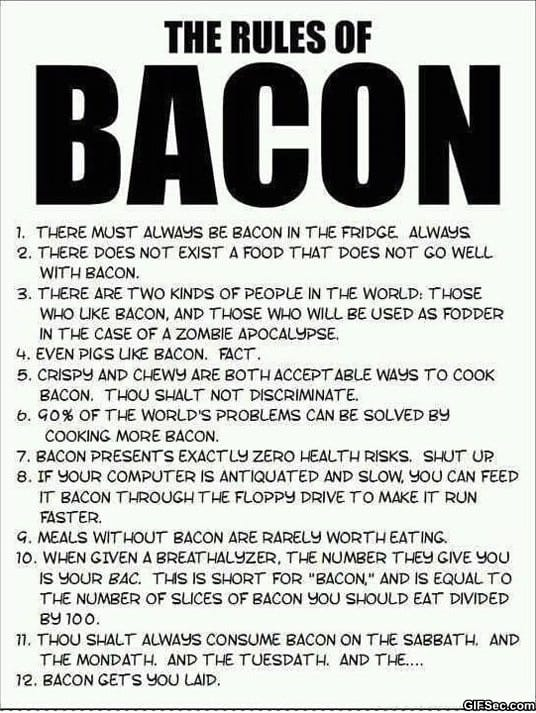 Pics Photos - The Funny Rules Of Bacon