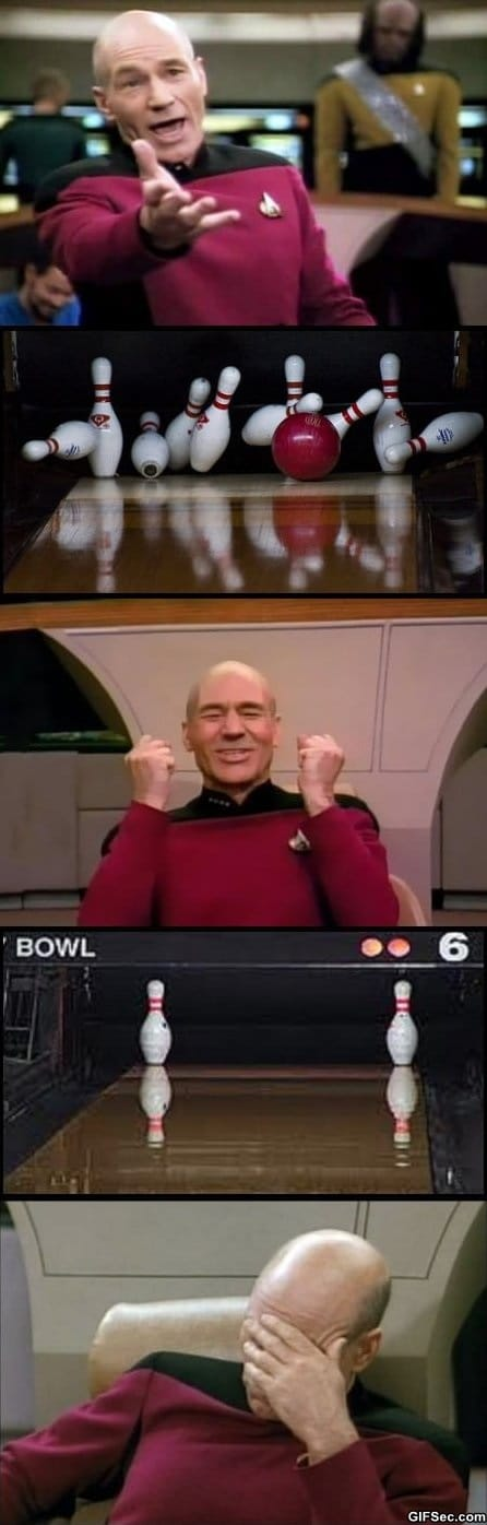 Funny Pictures - Captain Picard Plays Bowling