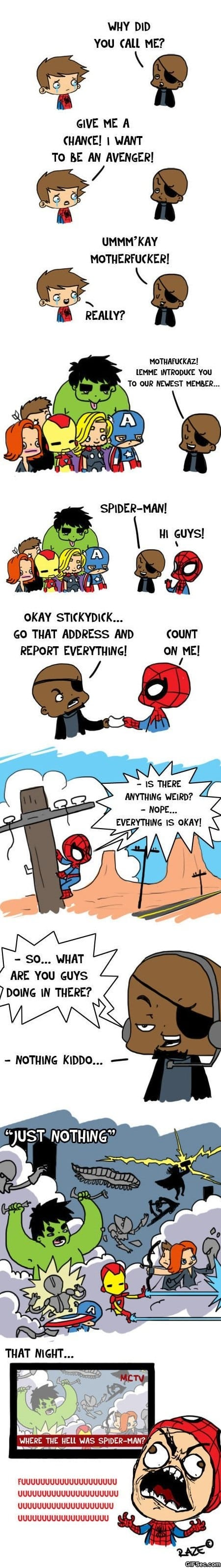 Funny - Avengers and Spiderman