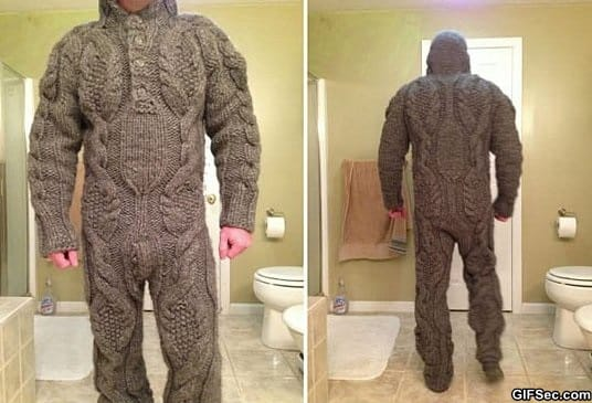 Funny – Full body knitted suit for those harsh winter mornings