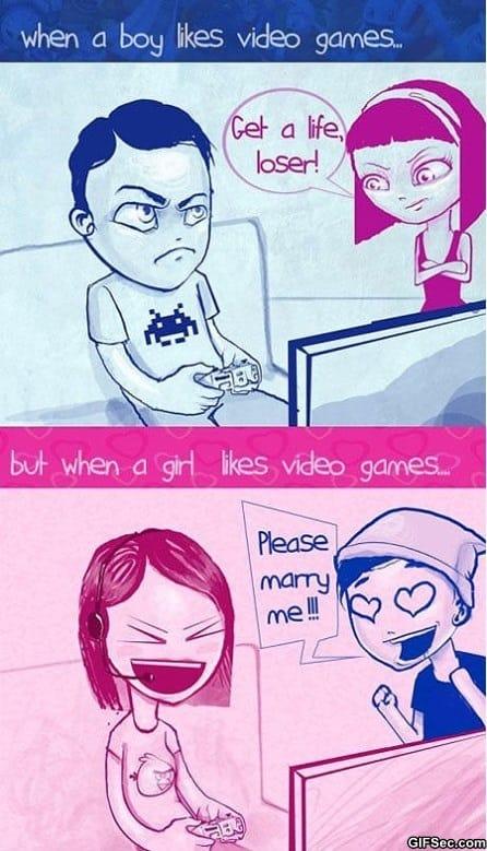 Boys vs. Girls Playing Video Games