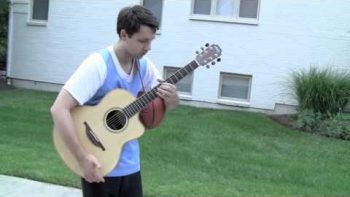 Ben Plays Acoustic Guitar With Basketball Dribbling Percussions