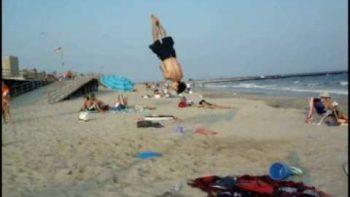 Beach Ball In Sand Makes Beach Trampoline