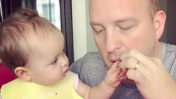 Baby girl refuses to let dad eat vegetables