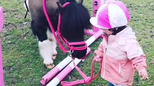 Baby Preciously Leads Pony Across Adorable Obstacle Course