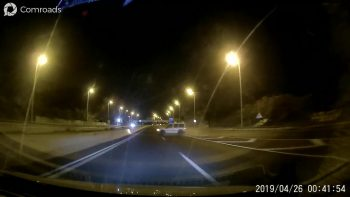 Drunk driver loses control on the on-ramp and crashes into divider