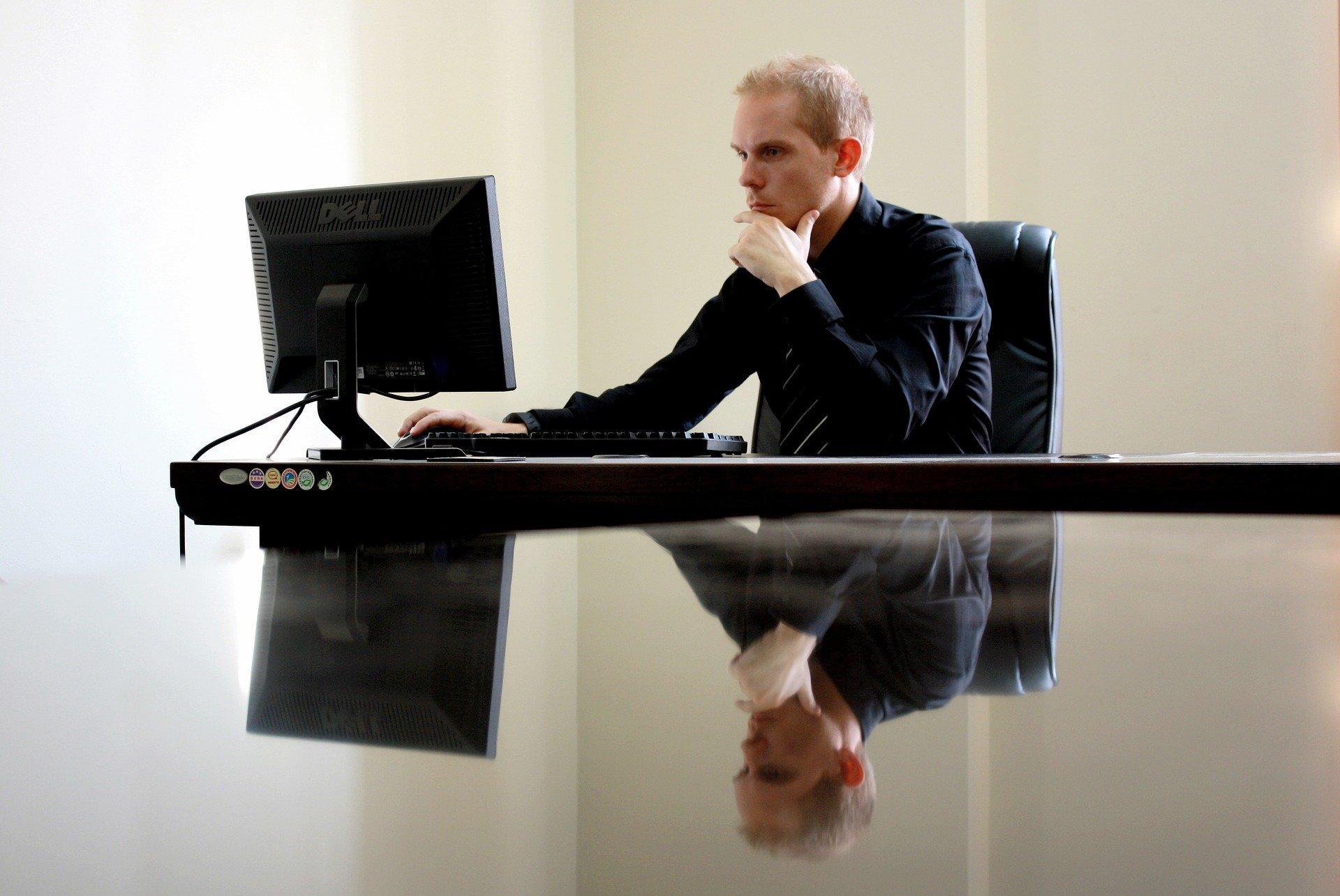 entrepreneur working at a desk