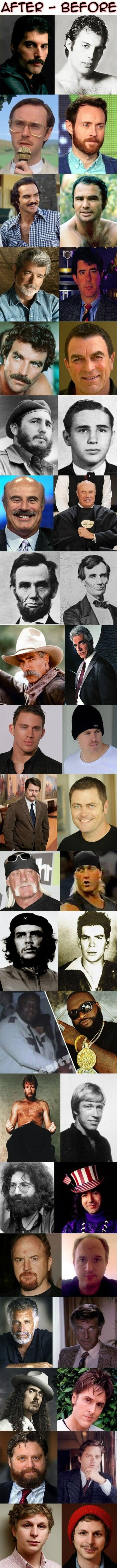 Funny Celebirty Beards - After vs. Before meme jokes
